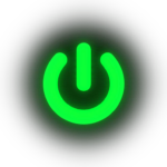 neon green power logo with subtle horizontal scan lines running through it.