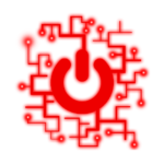 red power logo with digital, right angle roots spreading from it